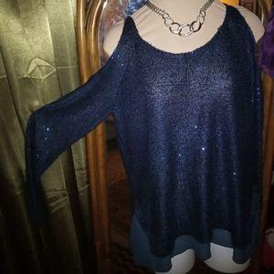 Dressy long sleeve cold shoulder knit top